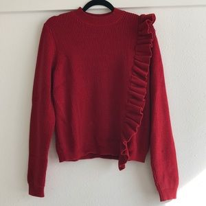 Red ruffle sweater l